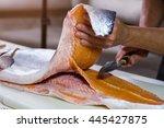 Hand Holds Knife Near Fish....