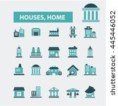 houses  home icons | Shutterstock .eps vector #445446052