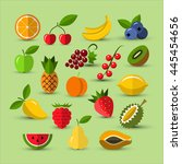 set of different fruits and... | Shutterstock .eps vector #445454656