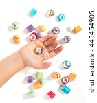 sweets   hand of candy | Shutterstock . vector #445454905