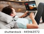man watching streaming series... | Shutterstock . vector #445463572