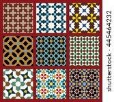 morocco seamless patterns set.... | Shutterstock . vector #445464232