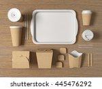 burger bar set craft paper... | Shutterstock . vector #445476292