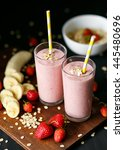 strawberry and banana smoothie... | Shutterstock . vector #445480696