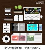 vector workplace businessman... | Shutterstock .eps vector #445490542