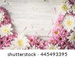 Frame of  white and pink flower ...