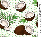 coconuts  tropical leaves  on a ... | Shutterstock .eps vector #445497022