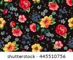 seamless cuban floral pattern... | Shutterstock .eps vector #445510756
