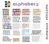 twenty fonts  numbers and... | Shutterstock .eps vector #445512496