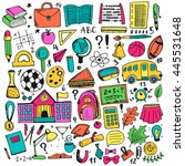 hand drawn doodle elements set. ... | Shutterstock .eps vector #445531648