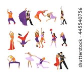 vector set of dancing people.... | Shutterstock .eps vector #445540756