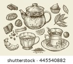 drinks and food. hand drawn tea ... | Shutterstock .eps vector #445540882