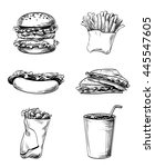 set of fast food elements  hand ... | Shutterstock .eps vector #445547605