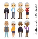 diverse cartoon senior couples... | Shutterstock .eps vector #445547668