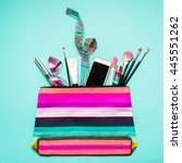 colorful striped  bag with... | Shutterstock . vector #445551262