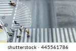 busy city people are walking to ... | Shutterstock . vector #445561786