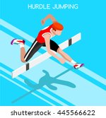 athletics hurdle jumping 2016... | Shutterstock . vector #445566622