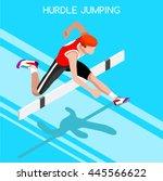 athletics hurdle jumping race... | Shutterstock . vector #445566622
