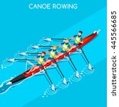 canoe rowing quadruple sculls... | Shutterstock . vector #445566685