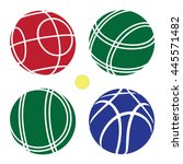 bocce ball color set icon   ... | Shutterstock .eps vector #445571482