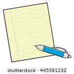 ballpoint pen near blank sheet... | Shutterstock . vector #445581232