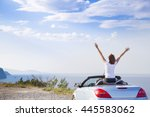 young woman drive a car on the... | Shutterstock . vector #445583062