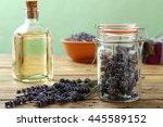 lavender in glass jar rustic... | Shutterstock . vector #445589152