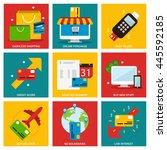 credit cards nine flat items... | Shutterstock .eps vector #445592185