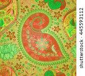 paisley vintage floral motif... | Shutterstock . vector #445593112