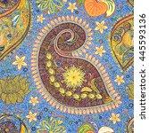 paisley vintage floral motif... | Shutterstock . vector #445593136