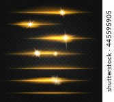 light flares set on black... | Shutterstock .eps vector #445595905
