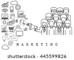 marketing team on white... | Shutterstock .eps vector #445599826