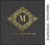 luxury monogram logo. golden...   Shutterstock .eps vector #445618486