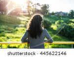 back view of lonely brunette... | Shutterstock . vector #445622146