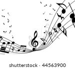 musical notes staff background... | Shutterstock . vector #44563900