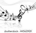musical notes staff background... | Shutterstock . vector #44563909