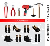 banner with shoemaking... | Shutterstock .eps vector #445656265