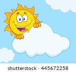 happy summer sun mascot cartoon ... | Shutterstock .eps vector #445672258