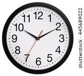 black wall clock shows ten past ... | Shutterstock . vector #445689022