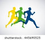 silhouette athletes running... | Shutterstock .eps vector #445690525