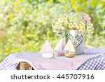 nutshell ships with flowers in... | Shutterstock . vector #445707916