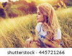 attractive young blonde woman... | Shutterstock . vector #445721266