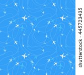 airline routes with planes... | Shutterstock .eps vector #445723435