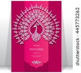 wedding invitation or card with ... | Shutterstock .eps vector #445773262