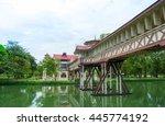 old wood bridge on vintage...   Shutterstock . vector #445774192