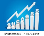 business charts with arrow and... | Shutterstock .eps vector #445781545
