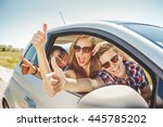 fun in car 3 cheerful friends... | Shutterstock . vector #445785202