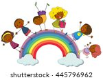 happy children standing on... | Shutterstock .eps vector #445796962