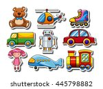 sticker set of many toys... | Shutterstock .eps vector #445798882
