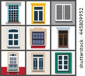 a set of classic windows for... | Shutterstock .eps vector #445809952
